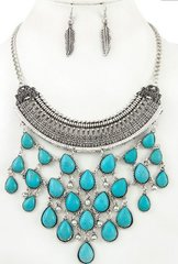 Turquoise Tear Drop Necklace Set