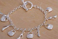 Silver Shoe, Handbags, Link Bracelet