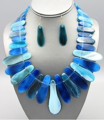 Tortoise Shell Necklace Set-Blue