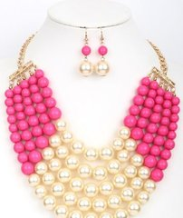 Multi Row Pearl Necklace Set-Pink