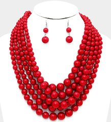 Chunky Pearl Necklace Set-Red