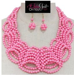 Pink Bib Pearl Necklace Set
