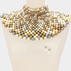 Pearl Armour Bib Choker Necklace Set-Gold Multi
