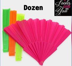 Dozen Neon Paper Folding Fans
