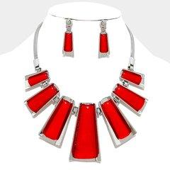 Metal Pendant Necklace Set-Red