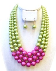 Multi Row Acrylic Pearl Necklace Set-Pink & Green
