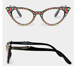 Fashion  Readers Pink & Green Rhinestone Glasses