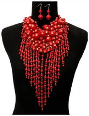 Cluster Red Teardrop Pearl Necklace Set