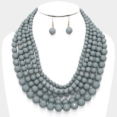 Layered Multi Bead Necklace Set-Grey