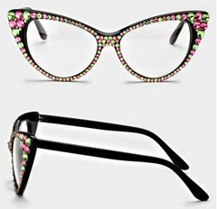 Fashion Crystal Clear Cat Eyeglasses-Pink/Green