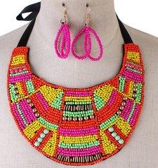 Fashion Bead Bib Necklace Set
