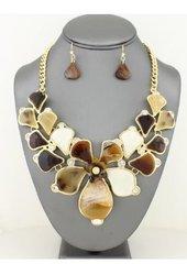 Golden Brown Flower Necklace Set