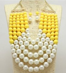 Multi Row Pearl Necklace Set-Yellow