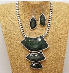 Metal  Stone Necklace Set-Black