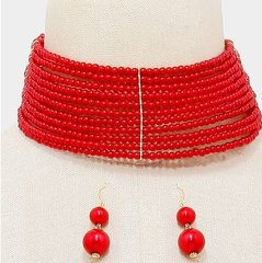 Pearl Red Choker Necklace Set