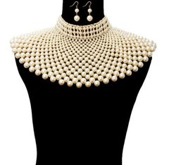 Pearl Armour Bib Choker Necklace Set-Creme