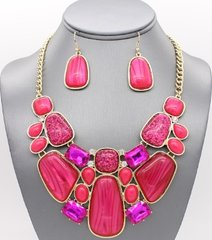 Enamel Fuschia Necklace Set