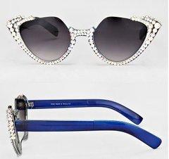 Round Rhinestone Sunglasses-Blue