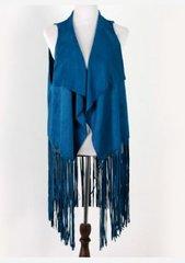 Faux Suede Vest-Blue