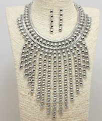 Bib Necklace Set-Silver