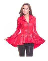 Faux Red Peplum Jacket