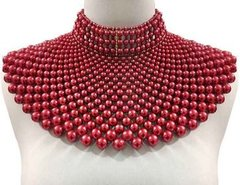 Pearl Armour Bib Choker Necklace Set-Red