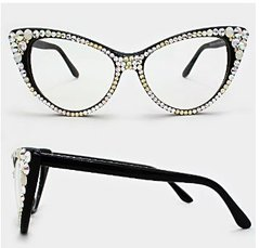 Fashion Crystal Clear Cat Eyeglasses-Black/AB/Brown/Clear