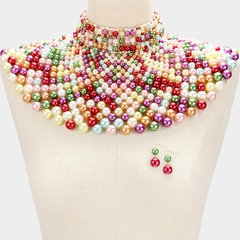 Pearl Armour Bib Choker Necklace Set-Soft Multi