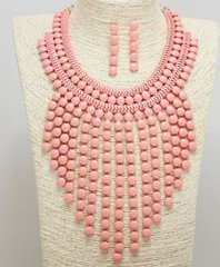 Bib Necklace Set-Pink