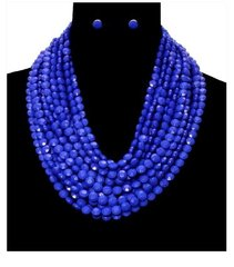 Chunky Bead Necklace Set-BL