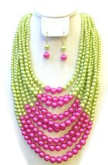 Triple Strand Pink & Green Pearl Necklace Set