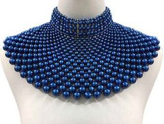Pearl Armour Bib Choker Necklace Set-Blue