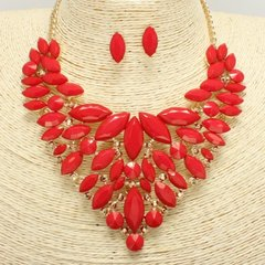 Bib Gem Stone Necklace Set-Red