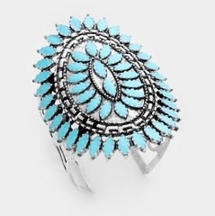 Stretch Cuff Silver Tone Turquoise Bracelet