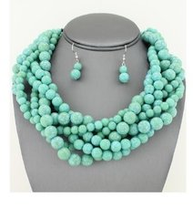 Chunky Turquoise Necklace Set