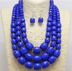 Lucite Bead Blue Necklace Set
