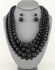 Chunky Pearl Necklace Set-Black