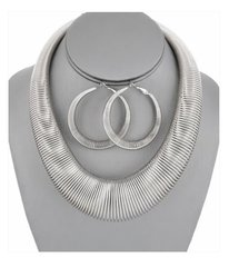 Slinky Necklace Set-Silver