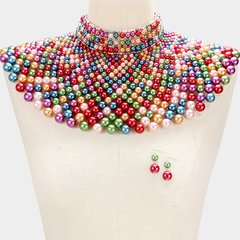 Pearl Armour Bib Choker Necklace Set-Multi