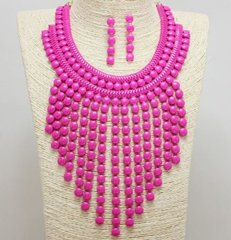 Bib Necklace Set-Fuchsia