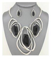 Silver Black Stone Necklace Set