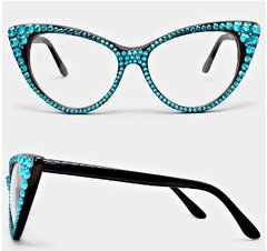 Fashion Crystal Clear Cat Eyeglasses-Black/BLUE