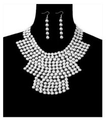 Metal Statement Necklace Set-Silver