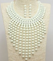 Bib Necklace Set-WHITE