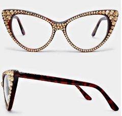 Fashion Crystal Cat Eyeglasses-BR-L.C.TOPAZ