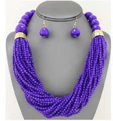 Seed Bead Gold/Purple Necklace Set