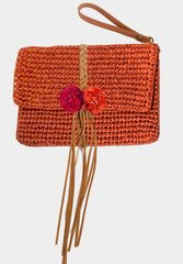 Straw Clutch Handbag-Burnt Orange