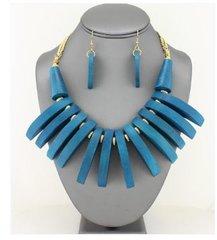 Wood Fringe Bib Necklace Set-Blue
