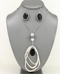 Crystal Pendant Necklace Set-Black