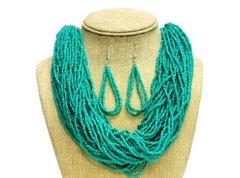 Seed Bead Necklace Set-Aqua
